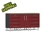 Ulti-MATE Garage Cabinets 4-Piece Workstation Kit with Bamboo Worktop in Ruby Red Metallic