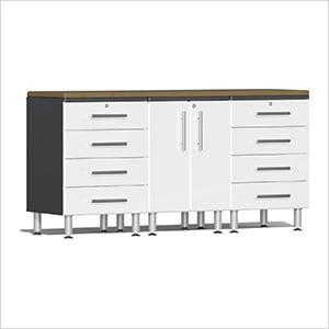 4-Piece Workstation Kit with Bamboo Worktop in Starfire White Metallic