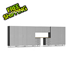 Ulti-MATE Garage Cabinets 11-Piece Cabinet Kit with Channeled Worktop in Stardust Silver Metallic