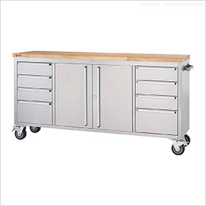 72 in. Stainless Steel Rolling Workbench