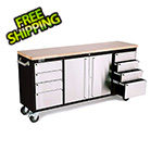 Trinity 72 in. Black Rolling Workbench with Stainless Steel Face