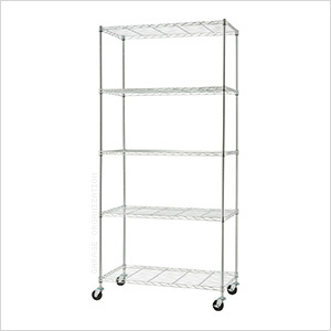 Chrome 5-Tier Wire Shelving Rack