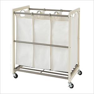 3-Bag White Laundry Cart
