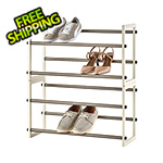 Trinity White 2-Tier Expandable Shoe Rack