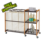 Trinity Bronze Bamboo Laundry Station with Wheels