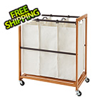 Trinity Bamboo 3-Bag Laundry Cart