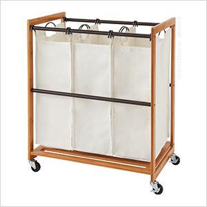 Bamboo 3-Bag Laundry Cart