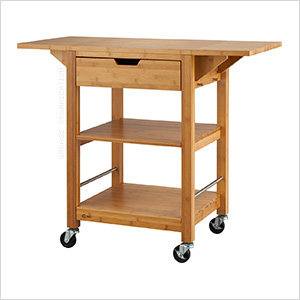 24 In. Bamboo Kitchen Cart With Drop Leafs