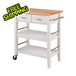 Trinity White Kitchen Cart With Drawers and Tray