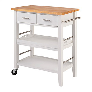 White Kitchen Cart With Drawers And Tray