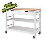 Trinity White Bamboo Kitchen Island With Drawers