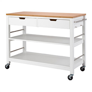 White Bamboo Kitchen Island With Drawers