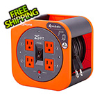 Link2Home 25 ft. Extension Cord Reel with 4 Grounded Outlets and Surge Protector
