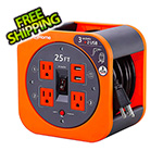 Link2Home 25 ft. Extension Cord Reel with 4 Grounded Outlets and 2 USB Ports