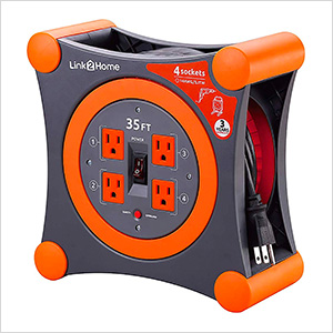 35 ft. Extension Cord Reel with 4 Grounded Outlets and Surge Protector