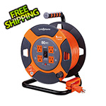 Link2Home 60 ft. Extension Cord Reel with 4 Grounded Outlets and Surge Protector