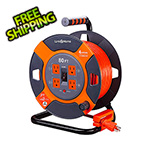 Link2Home 80 ft. Extension Cord Reel with 4 Grounded Outlets and Surge Protector