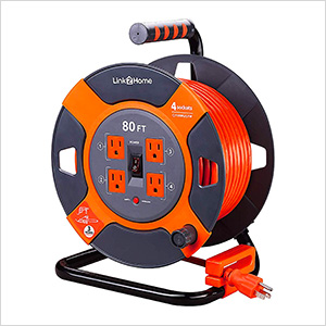 80 ft. Extension Cord Reel with 4 Grounded Outlets and Surge Protector