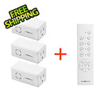 Link2Home Indoor Wireless Remote Control 3 Grounded Receivers with Timer