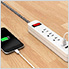 Power Strip Surge Protector 3 Outlets Power Strip with 2 USB Ports (White)