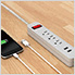 Power Strip Surge Protector 3 Outlets Power Strip with 2 USB Ports (Grey)