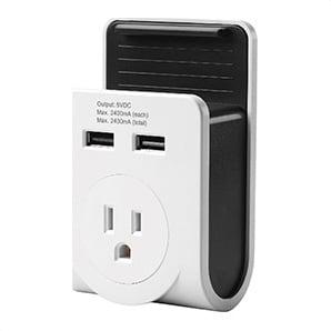 Dual Usb Port Power Adaptor With Smartphone Cradle