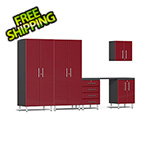 Ulti-MATE Garage Cabinets 6-Piece Cabinet Kit with Channeled Worktop in Ruby Red Metallic