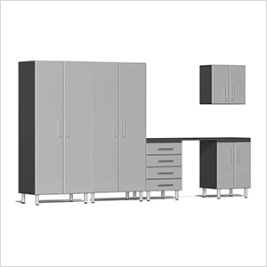 6-Piece Cabinet Kit with Channeled Worktop in Stardust Silver Metallic