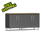 Ulti-MATE Garage Cabinets 3-Piece Workstation Kit with Bamboo Worktop in Graphite Grey Metallic