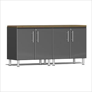 3-Piece Workstation Kit with Bamboo Worktop in Graphite Grey Metallic