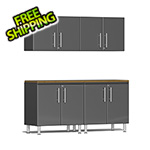 Ulti-MATE Garage Cabinets 5-Piece Cabinet Kit with Bamboo Worktop in Graphite Grey Metallic