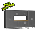 Ulti-MATE Garage Cabinets 7-Piece Cabinet Kit with Bamboo Worktop in Graphite Grey Metallic