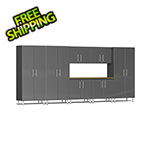 Ulti-MATE Garage Cabinets 8-Piece Cabinet Kit with Bamboo Worktop in Graphite Grey Metallic