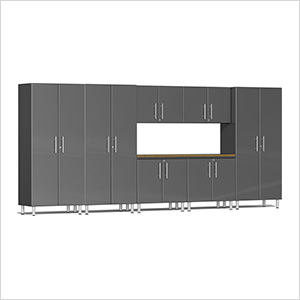 8-Piece Cabinet Kit with Bamboo Worktop in Graphite Grey Metallic