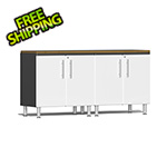 Ulti-MATE Garage Cabinets 3-Piece Workstation Kit with Bamboo Worktop in Starfire White Metallic