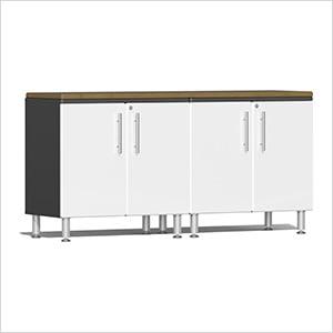 3-Piece Workstation Kit with Bamboo Worktop in Starfire White Metallic