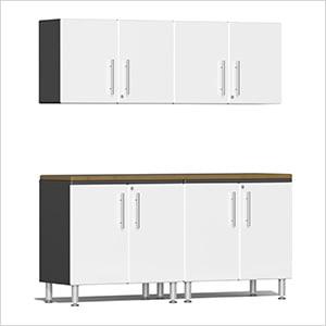 5-Piece Cabinet Kit with Bamboo Worktop in Starfire White Metallic