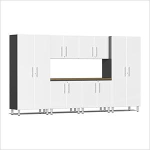7-Piece Cabinet Kit with Bamboo Worktop in Starfire White Metallic