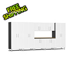 Ulti-MATE Garage Cabinets 8-Piece Cabinet Kit with Bamboo Worktop in Starfire White Metallic