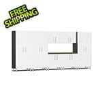 Ulti-MATE Garage 2.0 Series 8-Piece Cabinet Kit with Bamboo Worktop in Starfire White Metallic