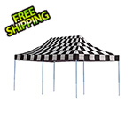ShelterLogic 10x20 Straight Pop-up Canopy with Black Roller Bag (Checkered Flag Cover)