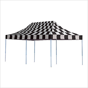 10x20 Straight Pop-up Canopy with Black Roller Bag (Checkered Flag Cover)