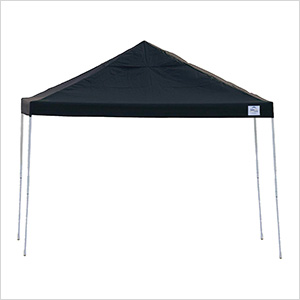 12x12 Straight Pop-up Canopy with Black Roller Bag (Black Cover)