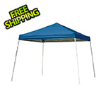 ShelterLogic 12x12 Slanted Pop-up Canopy with Black Roller Bag (Blue Cover)