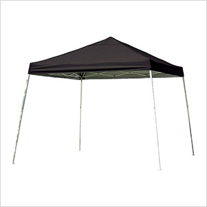 12x12 Slanted Pop-up Canopy with Black Roller Bag (Black Cover)