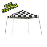 ShelterLogic 12x12 Slanted Pop-up Canopy with Black Roller Bag (Checkered Flag Cover)
