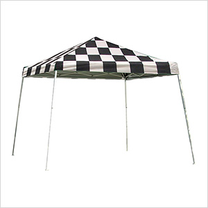 12x12 Slanted Pop-up Canopy with Black Roller Bag (Checkered Flag Cover)