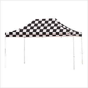 10x15 Straight Pop-up Canopy with Black Roller Bag (Checkered Flag Cover)