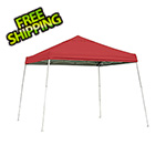 ShelterLogic 10x10 Slanted Pop-up Canopy with Black Roller Bag (Red Cover)