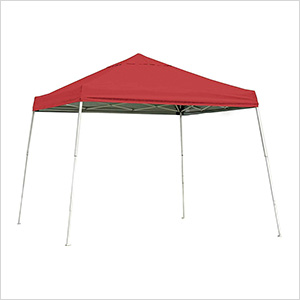 10x10 Slanted Pop-up Canopy with Black Roller Bag (Red Cover)